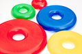 Colorful plastic toy rings Royalty Free Stock Photo