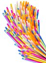 Colorful plastic tubes  on a white. Royalty Free Stock Photo