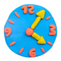 Colorful plasticine clay clock on white Royalty Free Stock Photos