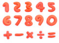 Colorful plasticine clay number and mathematics on white Stock Photography
