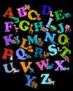 Colorful plasticine 3D animals alphabet poster