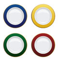 Colorful plate with gold rims on white background vector illust illustration Royalty Free Stock Photography