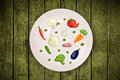 Colorful plate with hand drawn icons symbols vegetables and fr fruits on grungy background Stock Photo