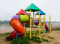 Colorful of playground the along river Royalty Free Stock Photography