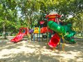 Colorful playground fun red day ice set joy kid cold baby park blue play game slide green place color climb empty child happy Royalty Free Stock Photo