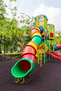The colorful plaything in benjasiri park bangkok thailand and golden shower tree Royalty Free Stock Photos