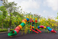 The colorful plaything in benjasiri park bangkok thailand and golden shower tree Stock Images