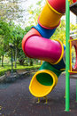 The colorful plaything in benjasiri park bangkok thailand and golden shower tree Stock Image