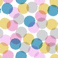 Colorful polka dot in zigzag pattern inside seamless vector for