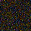 Colorful polka dots seamless pattern on black 2.