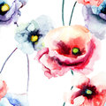 Colorful poppy flowers watercolor illustration seamless pattern Royalty Free Stock Image