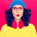 Colorful portrait funny girl fashion Royalty Free Stock Photo
