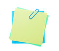 Colorful post it notes with clip isolated on white background Stock Photography