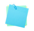 Colorful post it notes with clip isolated on white background Stock Image