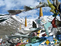 Colorful prayer flags in himalaya region Royalty Free Stock Photo