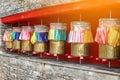 Colorful prayer Tibetan Metal Mantra wheels Royalty Free Stock Photo