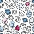 colorful precious stones seamless pattern on white Royalty Free Stock Photo