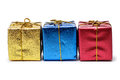 Colorful present boxes isolated over white Royalty Free Stock Photo
