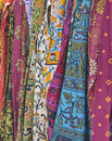 Colorful printed fabrics display of at haat Stock Photos
