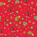 Colorful psychedelic doodle pattern with strawberries, stars, ice-creams etc. Doodle seamless background. Vector art