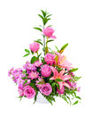 Colorful purple flower arrangement centerpiece Royalty Free Stock Photo