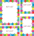 Colorful puzzle frames multicolor jigsaw borders of letter and other sizes Stock Photos