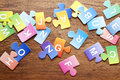 Colorful puzzle letters background Royalty Free Stock Photo