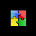 Colorful puzzle logo Royalty Free Stock Photo