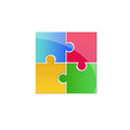 Colorful puzzle logo concept Stock Photo