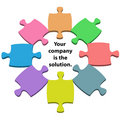 Colorful puzzle pieces center solution copy space Stock Photos