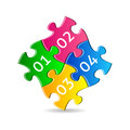 Colorful puzzle pieces four joined together with numbers Royalty Free Stock Photography
