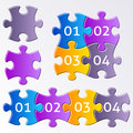 Colorful puzzle pieces gradient jigsaw with numbers Royalty Free Stock Photo