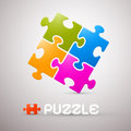 Colorful puzzle vector illustration on grey background Royalty Free Stock Photo