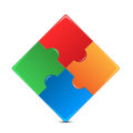 Colorful puzzles on white background puzzle of different color squares color mosaic Royalty Free Stock Images