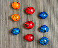 Colorful quail eggs painted for easter Stock Photography