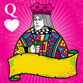 Colorful Queen of Hearts with banner illustration Stock Image