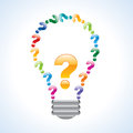 Colorful query mark light bulb Royalty Free Stock Photo