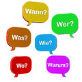 Colorful question dialogue bubbles with the words was wann wer wie wo warum Royalty Free Stock Photography