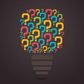 Colorful question mark bulb