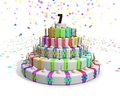 Colorful rainbow cake with on top a chocolate number 7 Royalty Free Stock Photo