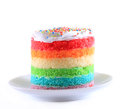 Colorful rainbow cakes on white plate. Royalty Free Stock Photo