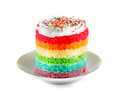 Colorful rainbow cakes on white plate.on white background Royalty Free Stock Photo