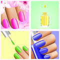 Colorful rainbow collection of nail designs for 4 seasons: summer spring, winter and autumn. Vector 3d illustration