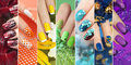 Colorful rainbow collection of nail designs. Royalty Free Stock Photo
