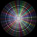 Colorful rainbow disk made of concentric circles on black background Royalty Free Stock Images