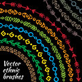 Colorful rainbow ethnic tribal brushes vector set Royalty Free Stock Photo