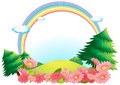 The colorful rainbow at the hilltop illustration of on a white background Stock Photos