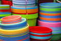 Colorful rainbow, plastic containers Royalty Free Stock Photo