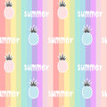 Colorful rainbow striped seamless pattern background illustration with pineapples and hand drawn lettering word summer Royalty Free Stock Photo