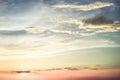Colorful rainbow sunburst sky at sunset Royalty Free Stock Photo